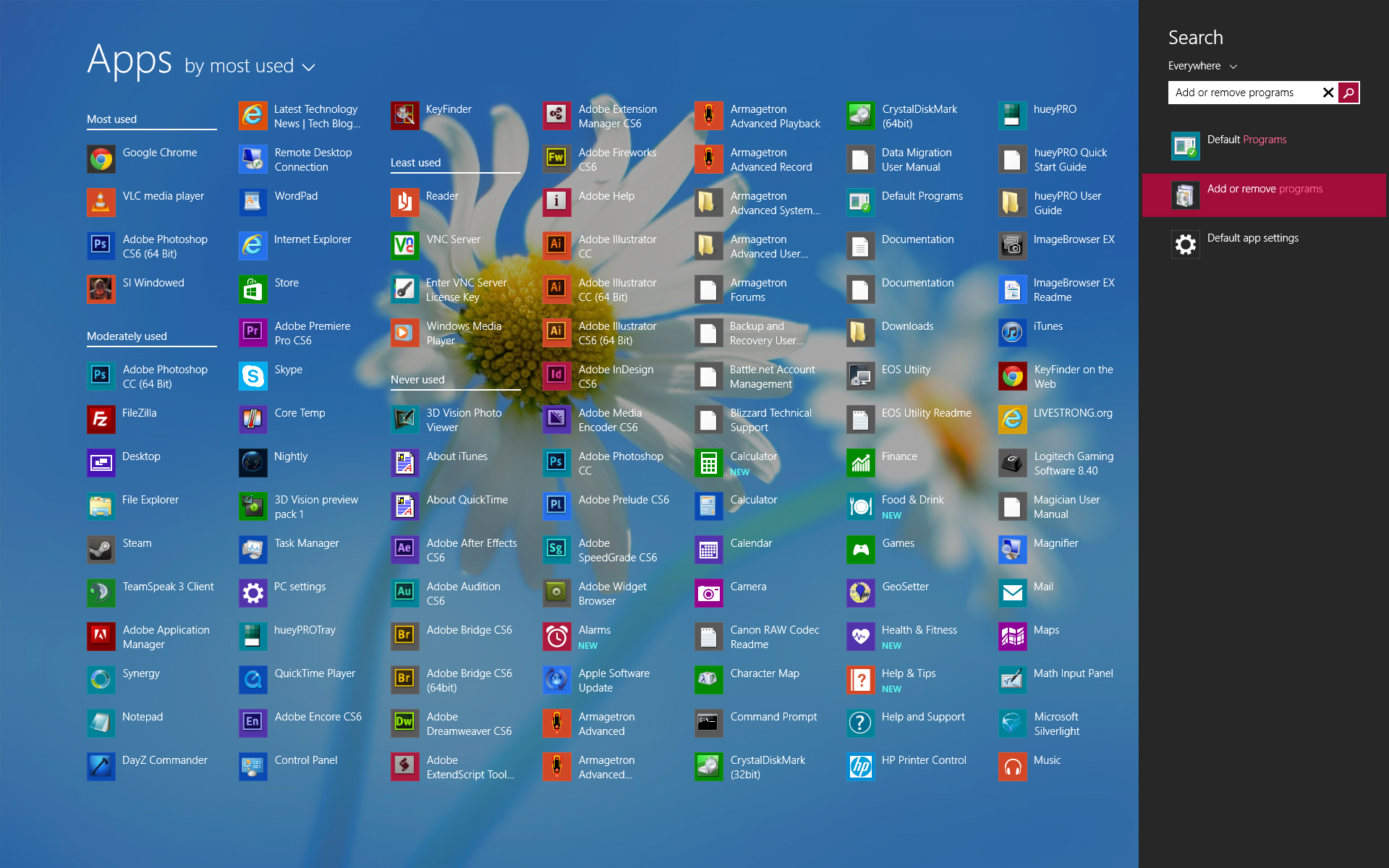 Présentation de la page Applications sous Windows 8.1 de Microsoft