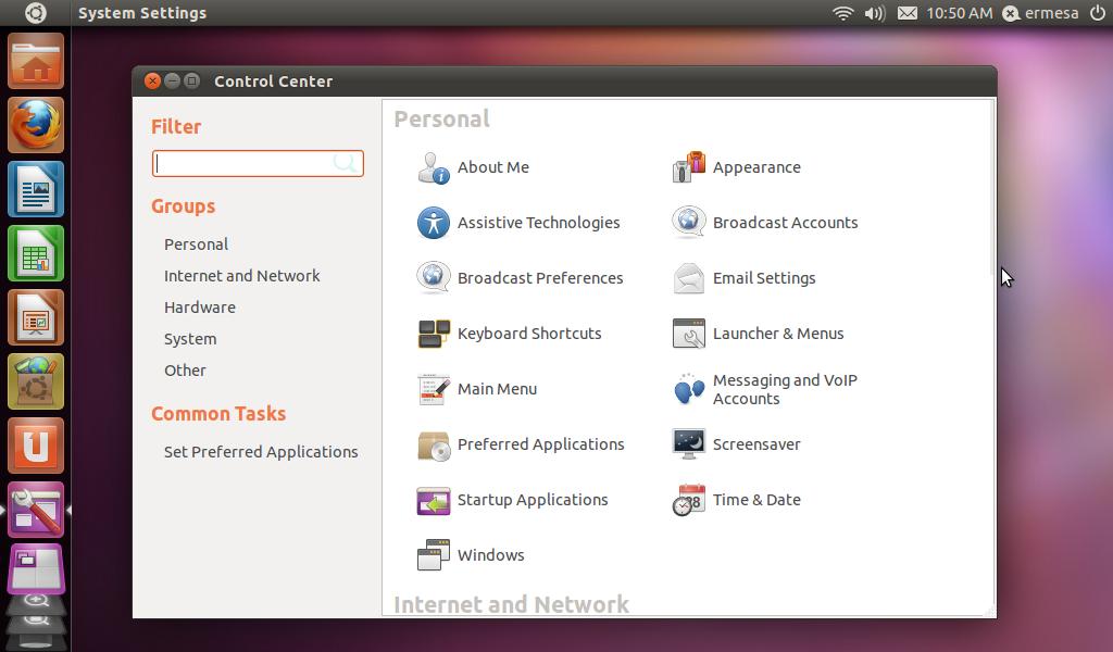 Unity Desktop on Ubuntu Control Panel
