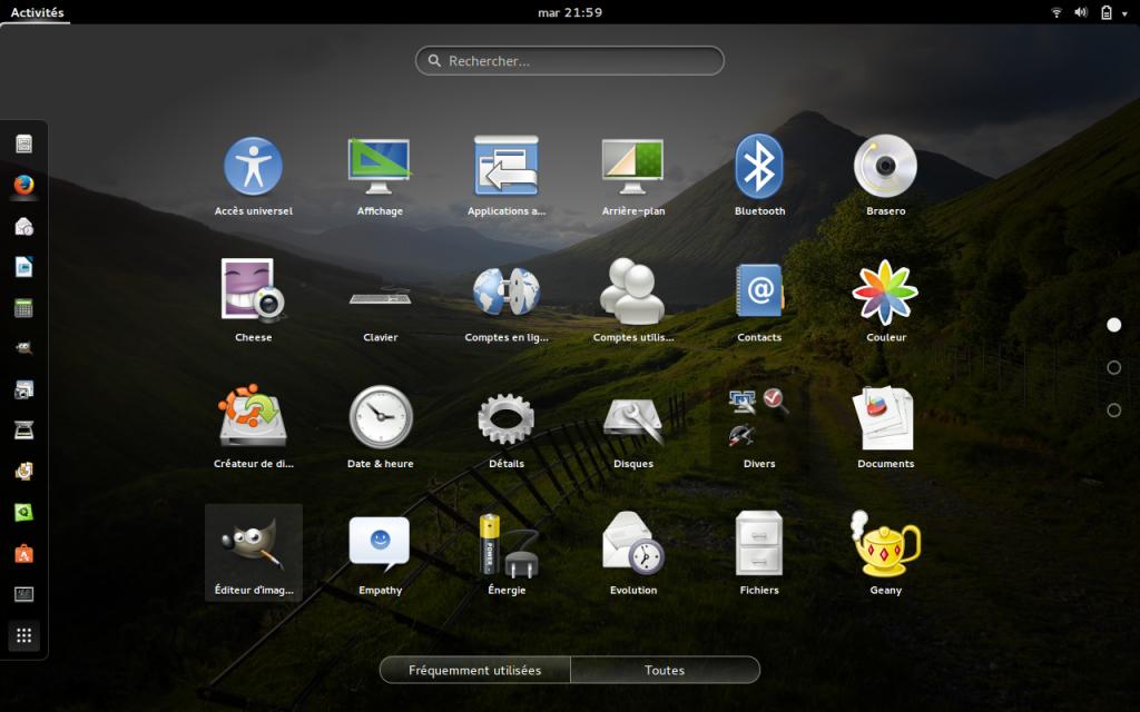Gestionnaire d'accès aux applications sous Ubuntu GNOME