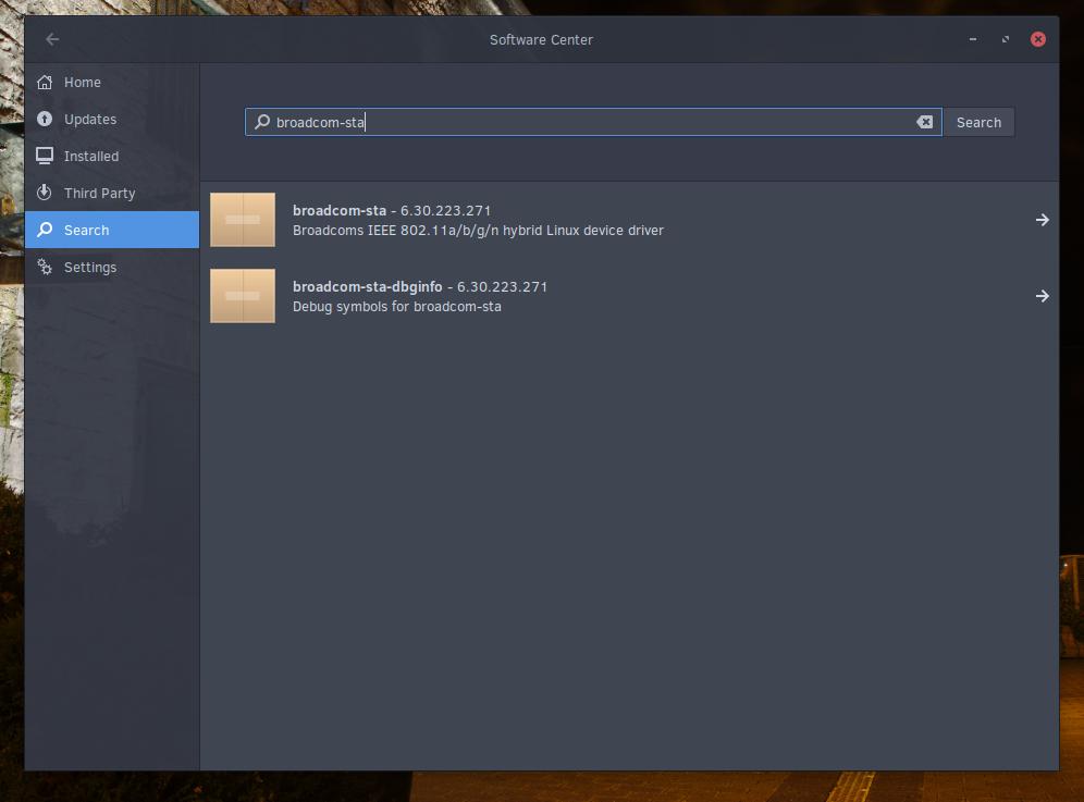 La logithèque et le paquet Broadcom sta pour la détection du Wifi pour Macbook Pro équipé du système d'exploitation Solus OS