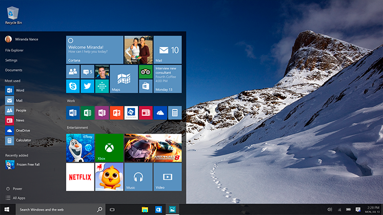 Capture d'écran de Windows 10