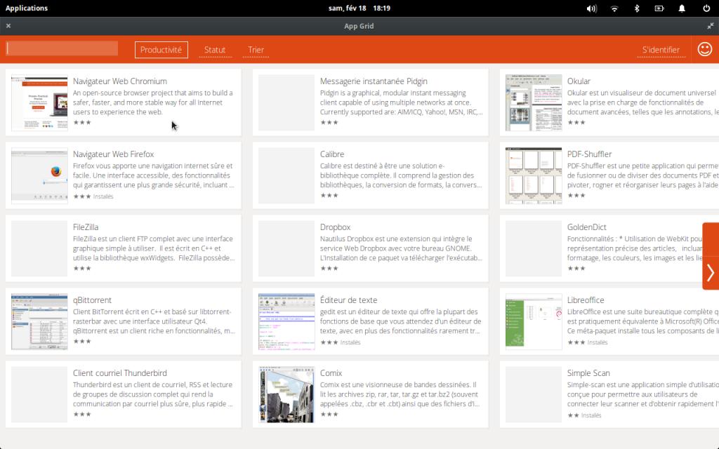 une capture d'écran du centre d'installation des logiciels App Grid pour Ubuntu elementary OS